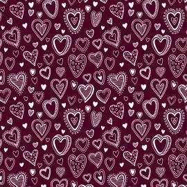 Tecido Nacional Coleção Multi Corações Vinho (0)