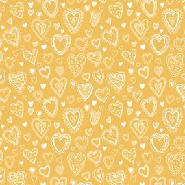Tecido Nacional Coleção Multi Corações Amarelo (0)