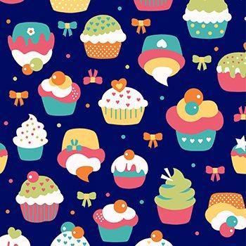 Tecido Nacional Cupcake Fundo Azul (0)