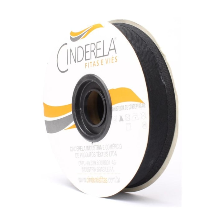Viés de Algodão  Preto 25mm Cinderela com 20 metros  (0)