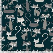 Tecido Nacional Coleção Gato Maroto Fundo Preto (0)