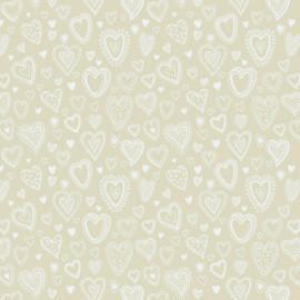 Tecido Nacional Coleção Multi Corações Creme Fabricart (0)