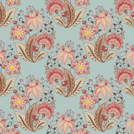 Tecido Nacional Coleção Floral Arabesque Jacobean Acqua Fabricart  (0)