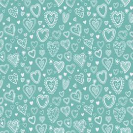 Tecido Nacional Multi Corações Turquesa Fabricart (0)