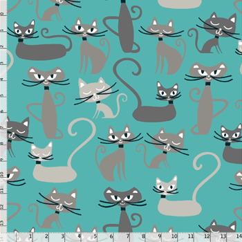 Tecido Nacional Coleção Gato Maroto Azul (0)