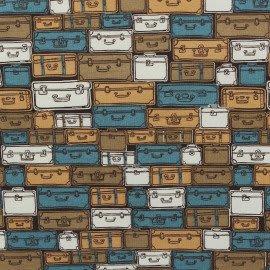 Tecido Nacional Coleção Maletas de Viagem Azul Fabricart