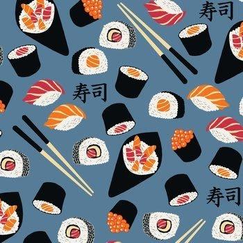 Tecido Nacional Coleção Sushi Fundo Azul