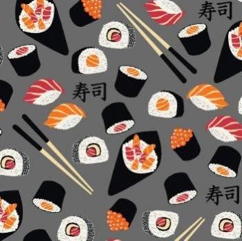 Tecido Nacional Coleção Sushi Fundo Cinza