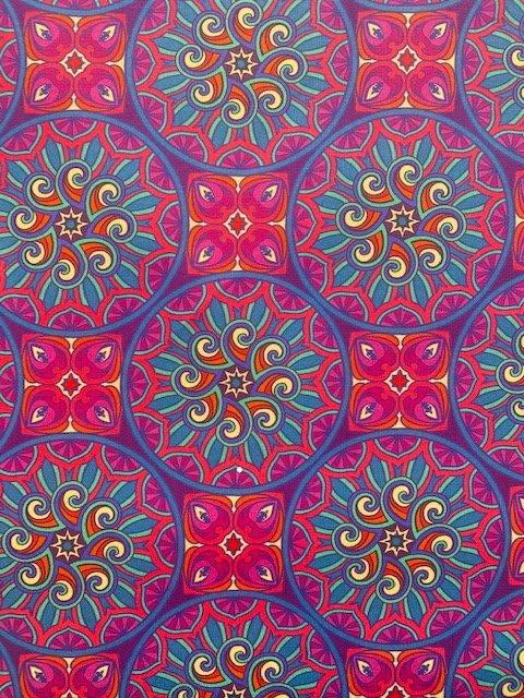 Tecido Nacional Coleção Digital Mandalas Lilás e Pink